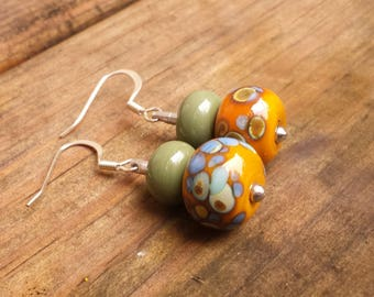 Lampwork Glass Earrings olive green and mustard yellow