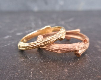 Gold Twig Ring, Gold Branch Ring, Silver, 14 k Rose, Yellow or White Gold, Twig Ring, Branch Wedding Band