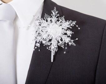 Winter Wedding Boutonniere - Crystal Snowflake Boutonniere with Ice Beads - Grooms Boutonniere for a Winter Wonderland Wedding  or Dance