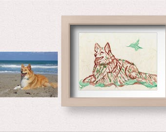 Custom Made to Order / Dog / Using Korean Paper ( HanJi) / Art