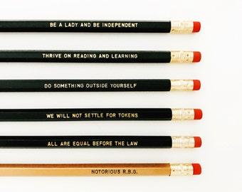 Ruth Bader Ginsburg Personalized Pencil set - Inspirational pencil set - Feminist pencil set - Notorious RBG pencil set