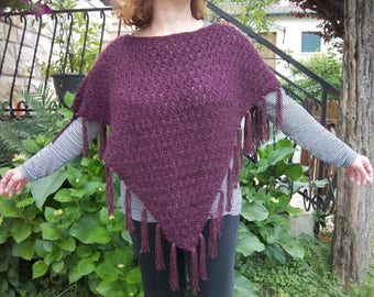 Folk wool and mohair knit fringed poncho