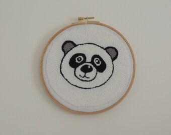 Panda, punchneedle punch needle, embroidery, canvas