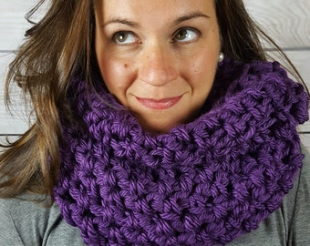 Purple Infinity Scarf - Purple Circle Scarf - PurpleCowl Scarf -  Crochet Infinity Scarf - Crochet Loop Scarf - Purple Circle Scarf