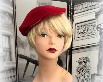 40s Raspberry Red Beret / Tam - Vintage Red Wool Hat - AUSTELLE FASHION
