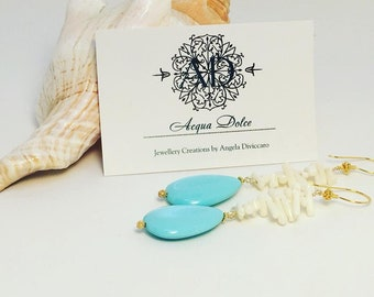Handmade Earrings,White Corals ,Turquoise , long earrings, dangle earrings, gift for her, gift for girlfriend, gift for wife,summer