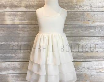 Ivory chiffon dress - Ivory flower girl - Sweetheart flower girl dress - off white flower girl dress - 3-Tier Chiffon Flower Girl Dress -