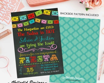 Fiesta Invitation couples shower bridal papel picado stock the bar I do BBQ engagement party rehearsal dinner adults only | 301 Katiedid