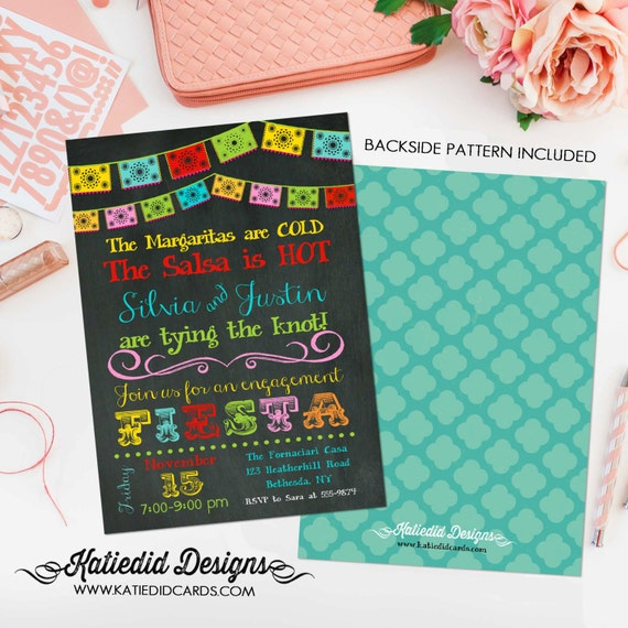 Fiesta dia de los muertos Cinco de mayo tacos margaritas couples shower invitation day of the dead bridal shower party | 301 Katiedid Cards