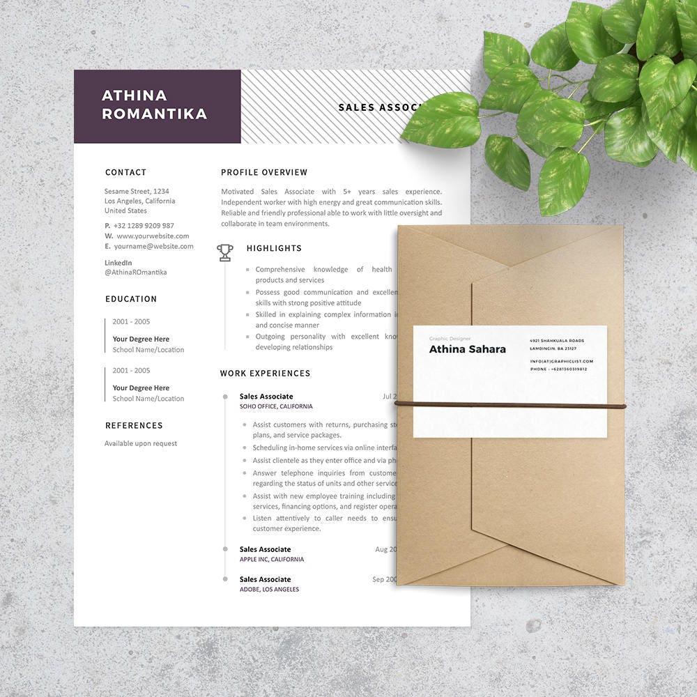 Asociado de ventas plantilla de currículum Carta incluido