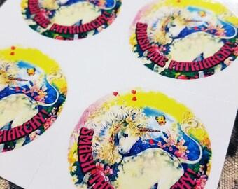 SMASH the PATRIARCHY pastel Unicorn Sticker, Vinyl, Resistance, feminist