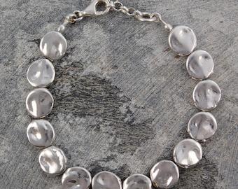 Sterling Silver Bracelet, Chunky Silver Bracelet, 925 Silver Bracelet, Organic Bracelet, Rustic Jewelry, Handmade Bracelet, Special Gift