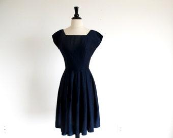 Vintage 50s Navy Blue Dress, Full Skirt Dress, 1950 Rockabilly Dress, Nipped Waist Swing Dress