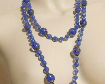 Vintage Murano beads--cased blue and aventurine glass
