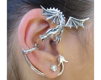 Dragon Ear Cuff Dragon Ear Wrap Game of Thrones Inspired Guardian Dragon Ear Wrap Sterling Silver Non Pierced Earring Dragon Jewelry Fashion