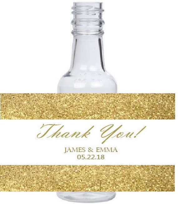 12 personalized Gold Glitter background mini liquor bottles, caps, and labels for your wedding, engagement, or event party