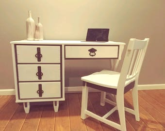 SOLD!...Vintage Writing Desk - Painted Furniture - Solid Wood Desk and Chair