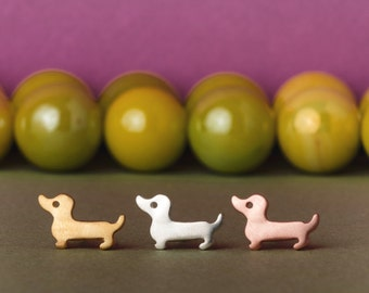 Solid Gold Dachshund Earrings 14k solid gold Wiener Dog Earrings Kids Earrings Pet earrings Dog Earrings Dog Jewelry