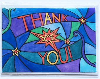 Thank you notecard with stars