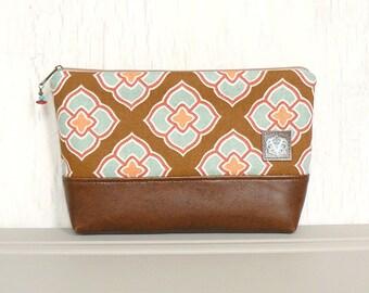 Large Zipper Pouch, Makeup Bag, Zippered Cosmetic Pouch - Quatrefoil Fleur in Brown, Aqua, and Coral