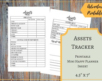 Assets Tracker for the Mini Happy Planner, Personal Value, Investments Tracker, Pension Value Tracker, Building Weath, Mambi , Create 365