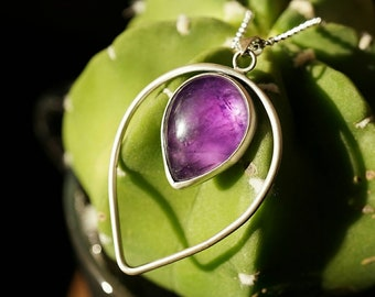 Amethyst and Sterling Silver Necklace Pendant