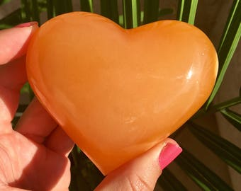 "3.1"" Puffy Orange Calcite Heart - Motivation and INTUITION"