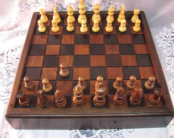 Handmade Walnut Wood Chess Board salvaged Walnut wood from 1830's Barn Beams, carved chess pieces, Heirloom Chess Set