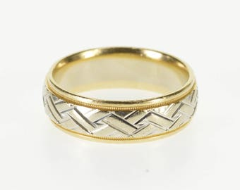 14k Two Tone Weave Woven Patterned Wedding Band Ring Gold