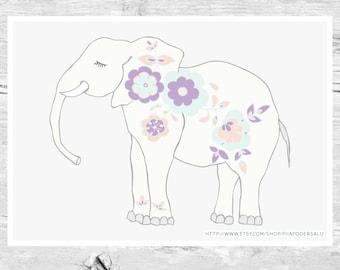 Elephant Art | Elephant Nursery Print | Elephant Babyshower