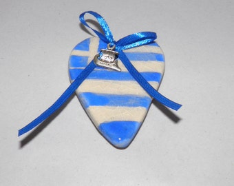 Ceramic Magnet Handmade Heart-shaped Greek Flag with Silver plated Ship Charm - Gift Wrap