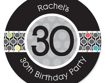 30th Birthday Circle Stickers - Personalized Birthday Party DIY Craft Supplies- 24 Count
