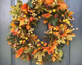 Fall Wreaths, Fall Door Wreaths, Front Door Wreaths Fall, Fall Leaves, Fall Decor, Fall Decorating, Thanksgiving Wreaths, Fall Door