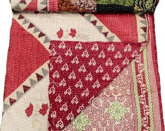 A Vintage Handmade Kantha Quilt, Boho Bedding, Vintage quilt, Kantha Throw, Reversible Quilt VKQ1708