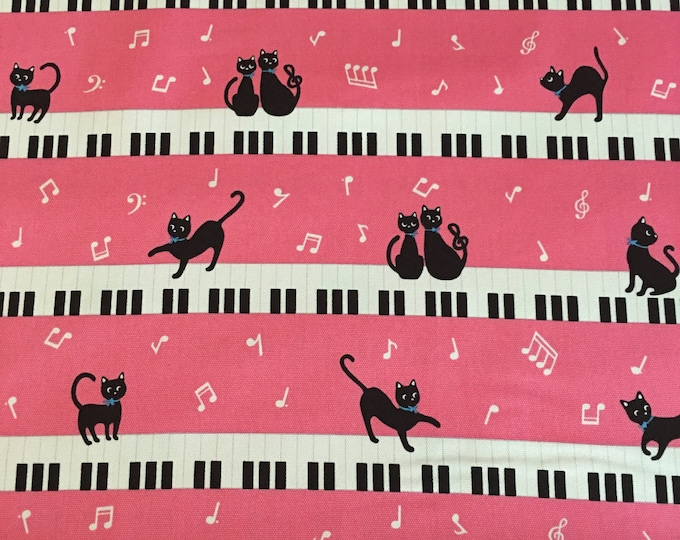 Kiyohara Japan - Piano Kitties Pink - Cotton Oxford