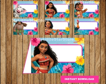 Moana Food labels, Printable Moana Food tent cards, Moana party Food labels Instant download