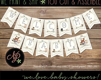Woodland Baby Shower Banner, Woodland Animals Shower Banner, Woodland Animals Decorations, Printed & Shipped - you assemble