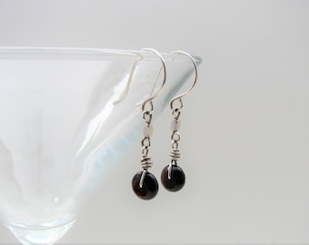 Garnet and Sterling Silver Hand Forged Earrings