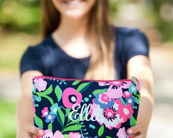 Cosmetic bag, personalized cosmetic bag for girls, monogrammed gift, gifts for teens