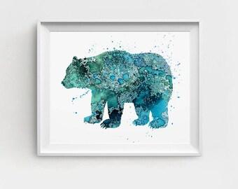 Bear Art Print, Printable Bear, Digital Bear Art, Bear Nursery Art,Turquoise Bear, DIY Wall Art, Watercolor Bear, Bear Wall Art, Large Art