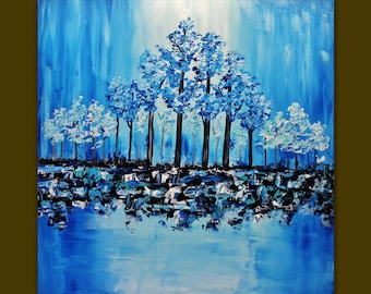 Acrylic painting Colorful Blooming Blue Trees  Palette knife.