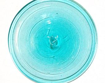 Glass rondel mouthblown Tiffany Glass Rondels aquamarin B12