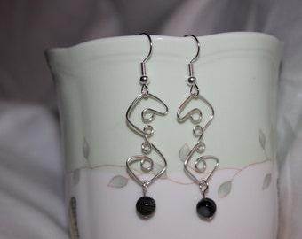 Black Onyx Earrings, Wire Wrapped Earrings, Striped Earrings, Geometric Earrings, Chakra Earrings