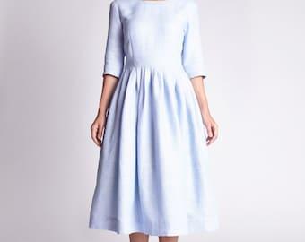 Simple wedding dress Linen dress Plus size dress Blue wedding dress 1950s wedding dress Tea length dress 1950s dress 50s dress Handmade