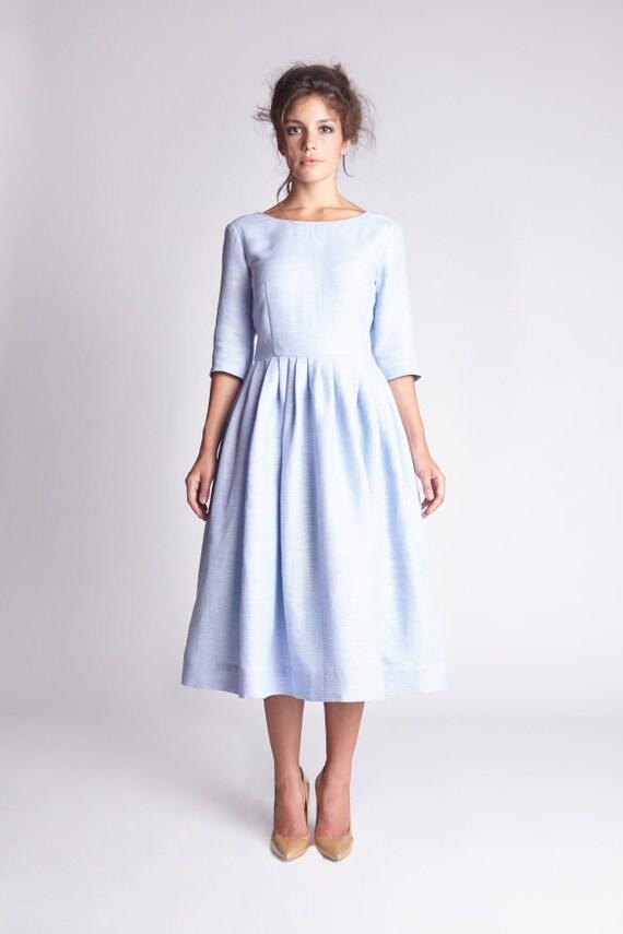 Simple wedding dress Linen dress Plus size dress Blue wedding