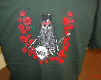 "Jerry Garcia Acoustic Band inspired ""Blue Yodel #9"" T shirt. Grateful Dead Shirt Skull and Roses shirt Jerry Garcia Shirt"