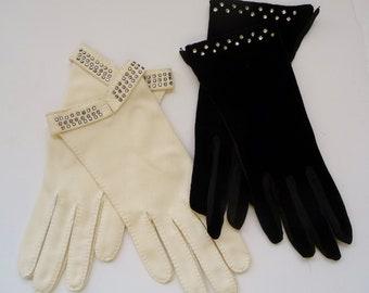 Vintage Dressy Gloves, Rhinestone Cuffs, Lot 2 Pair, Shalimar Black Velvet, Cream Heavy Cotton
