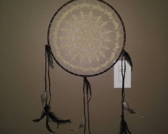 Dreamcatcher sage/ green lace large boho brown leather