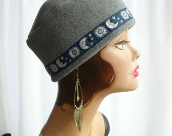 Gray Heather Fez Cap Celestial Trim for Men and Women