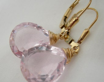 Morganite Pink Quartz Gold Fill Earrings